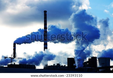 pollution smoke from chemical factory - stock photo