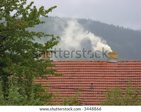 pollution smoke from the chimney Greenhouse gas and  gases GHG effect