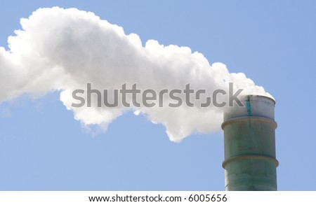 Pollution smoke stack - stock photo
