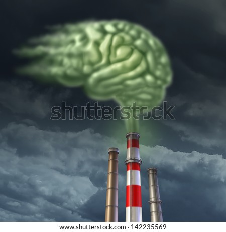Pollution solutions with a group of refinery smoke stacks releasing toxic green fumes in the shape of a human brain as a health care concept for environmental contamination and air quality control. - stock photo