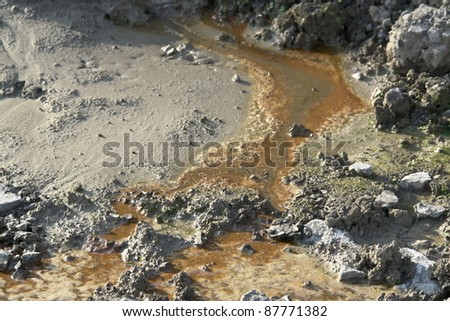 pollution theme showing a contaminated soil structure - stock photo