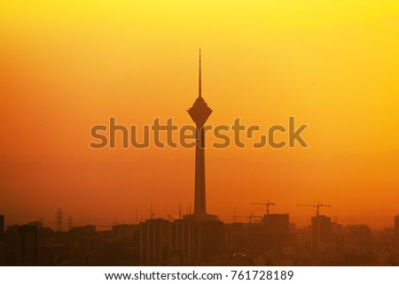 Pollution view of Milad Tower of Tehran in Iran, Nov 23, 2017