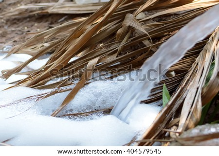 pollution water to river - stock photo