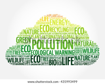 Pollution word cloud, conceptual green ecology background - stock photo