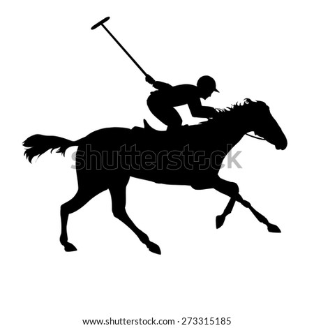 Polo player on isolated background. Horse polo silhouettes. Silhouette of a polo player with horse. Polo game - stock photo