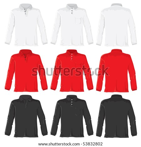 Polo shirt set with long sleeves. Without gradients, great for printing. JPEG version - stock photo