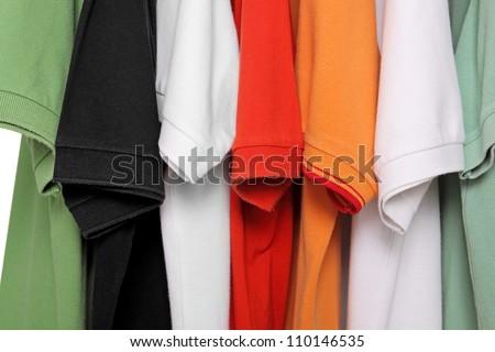 polo shirts closeup - stock photo