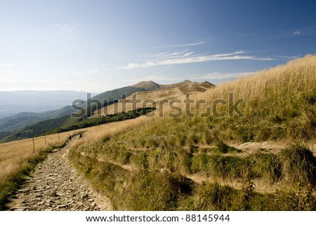 Polonina Wetlinska, part of Bieszczady mountains in east-south Poland - stock photo
