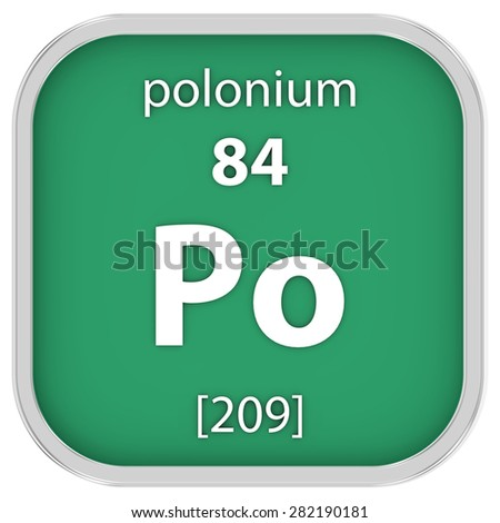 Polonium material on the periodic table. Part of a series. - stock photo