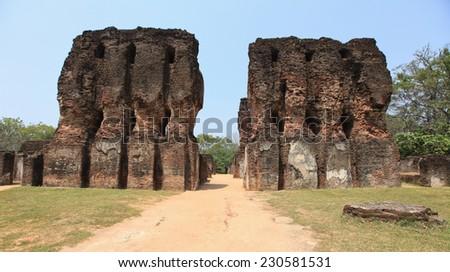 Polonnaruwa, architecture sculptures, old ruin, in Sri Lanka. - stock photo