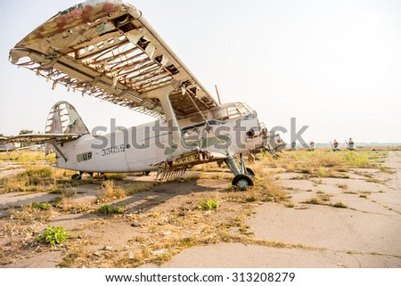 POLTAVA, UKRAINE - 04 SEPTEMBER 2015: aircraft cemetery of old machines. Place near Poltava city airport will be museum soon.
