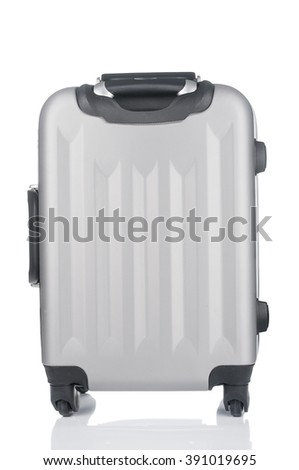 Polycarbonate suitcase isolated on white background
