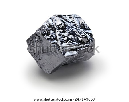 polycrystalline silicon, polysilicon isolated on white background - stock photo
