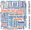 Polycystic ovary syndrome in word collage - stock photo