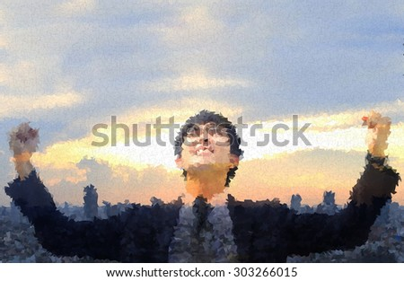 polygon photo , business man so glad as if he has got to success something with cityscape background , Double exposure style - stock photo