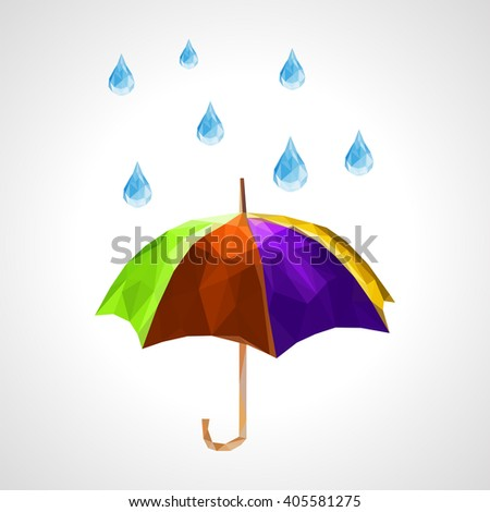 polygon set of umbrella and rain drops for weather forecast purple - stock photo
