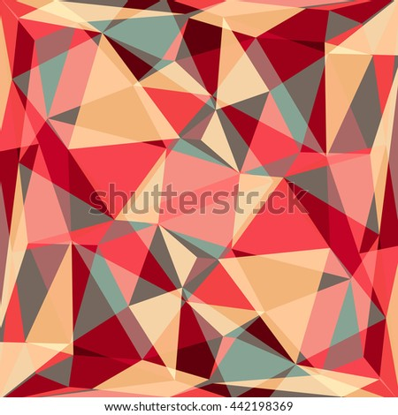 Polygonal abstract background with red and beige triangles.