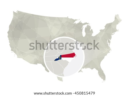 Polygonal abstract USA map with magnified North Carolina state. Raster copy