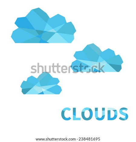 Polygonal clouds. Isolated on white background. - stock photo