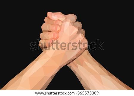 polygonal hand handshake friendly arm wrestling fist up on black - stock photo