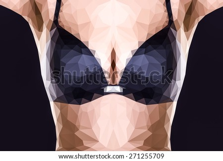 Polygonal image of a woman's breasts in bra