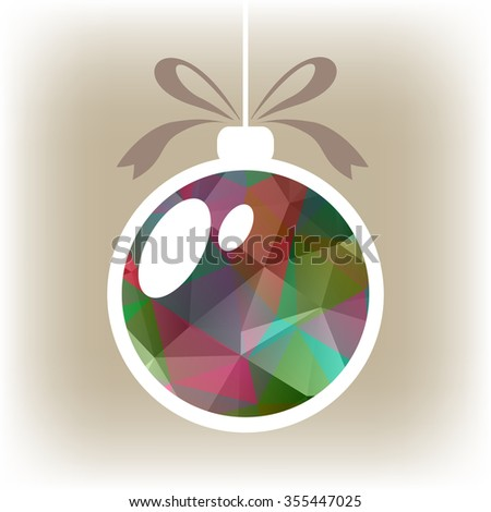 Polygonal isolated Christmas ball with pink and green triangles. - stock photo