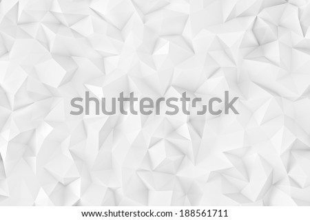 Polygonal light white 3d triangle geometric abstract background wallpaper - stock photo