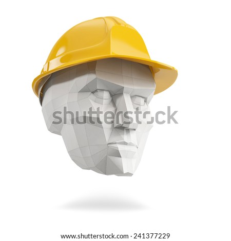 polygonal men head with yellow safety helmet on white background - stock photo