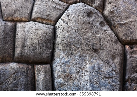polygonal stone in an old masonry of the Incas - stock photo