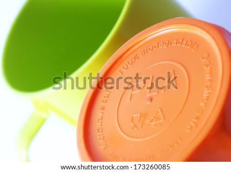 Polylactic acid (PLA, polylactide) bioplastic - stock photo