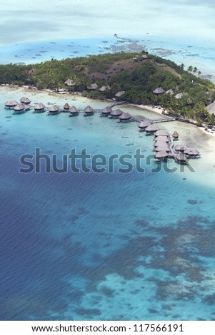polynesia aerial view - stock photo