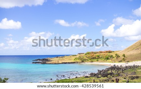 Polynesian Beach in Easter Island, Chile