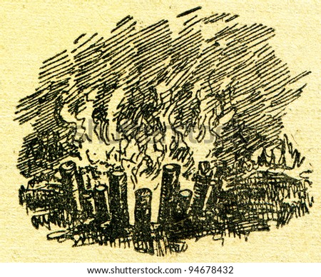"""Polynesian campfire - an illustration from the book """"In the wake of Robinson Crusoe"""", Moscow, USSR, 1946. Artist Petr Pastukhov - stock photo"""