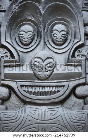 polynesian statue close up detail - stock photo