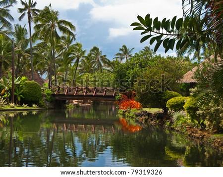 Polynesian village. Hawaii. - stock photo