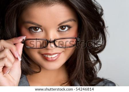 Polynesian woman wearing glasses - stock photo