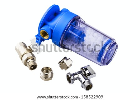 polyphosphate filter for water and pipe fittings isolated on a white background - stock photo