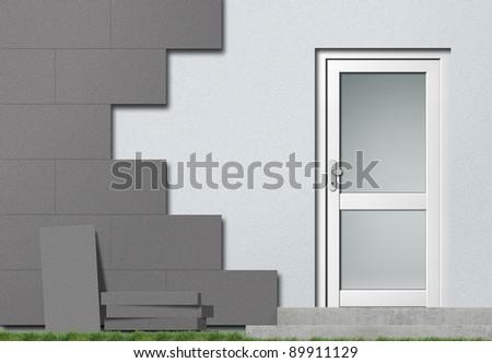 polystyrene facade insulation - stock photo