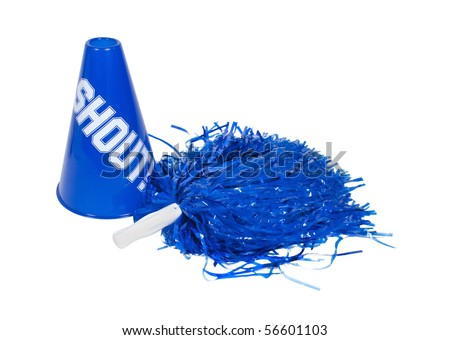 Pom pom and megaphone used for cheering on the team of choice - path included - stock photo
