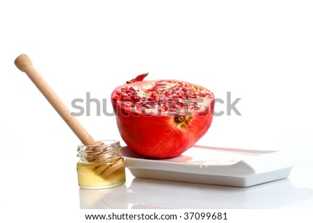pomegranate and honey - stock photo