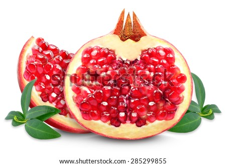 pomegranate and slice isolated on white - stock photo