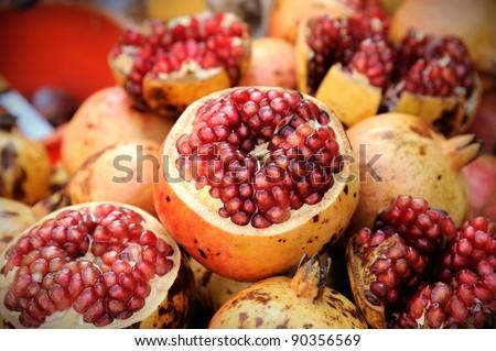 Pomegranate fruit at Bangkok morning market. - stock photo