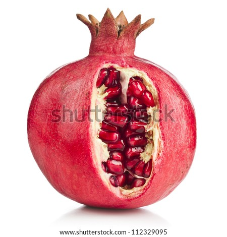pomegranate fruit on a white background - stock photo