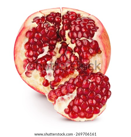 pomegranate half isolated on a white background. Clipping Path  - stock photo