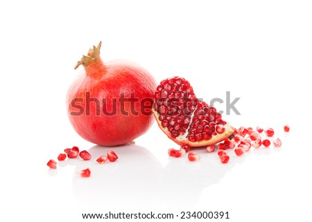 Pomegranate isolated on white background. Healthy fruit eating.