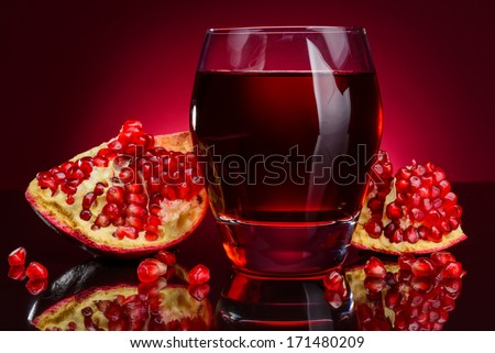 pomegranate juice and fruits - stock photo