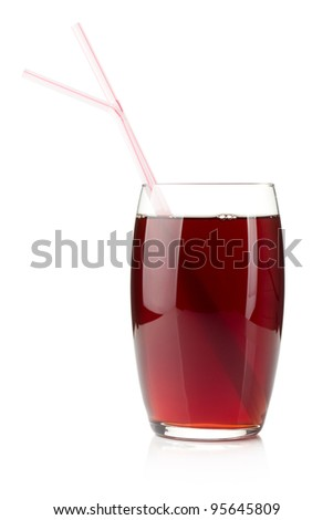 Pomegranate juice in a glass with two drinking straws. Isolated on white background - stock photo