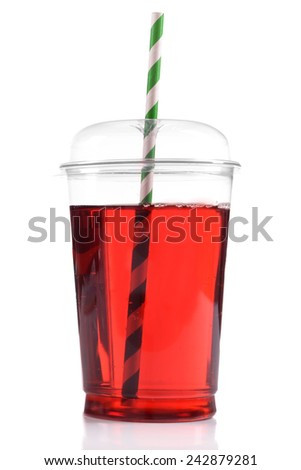 Pomegranate juice in fast food closed cup with tube isolated on white - stock photo