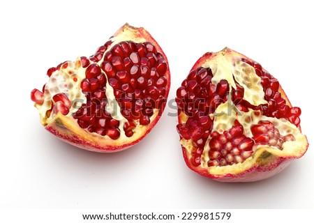 pomegranate on the white background - stock photo