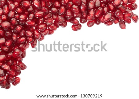 Pomegranate seed border isolated on white, clipping path included - stock photo